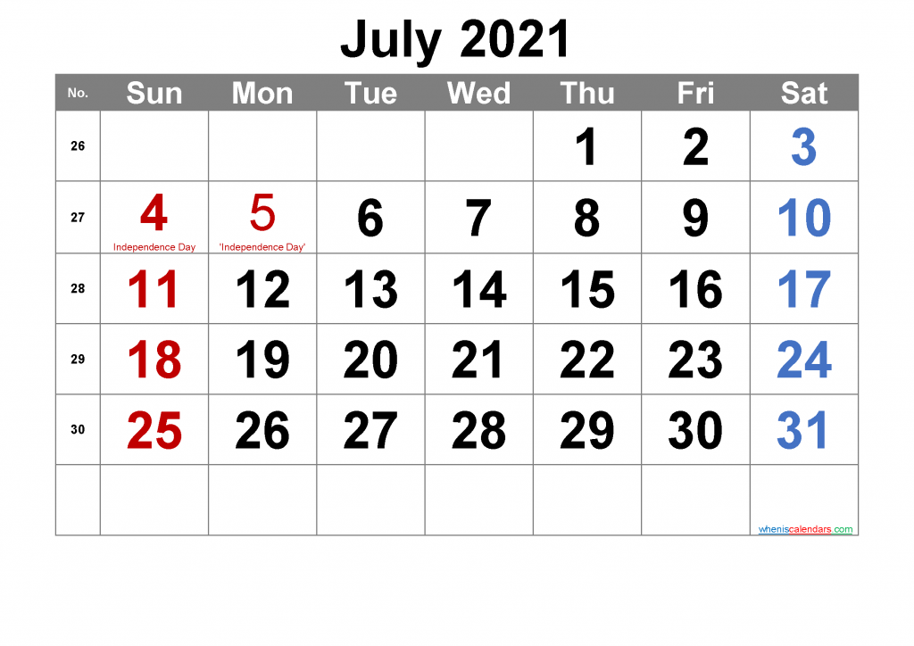 Free Calendar for July 2021 and Full Moon July 2021
